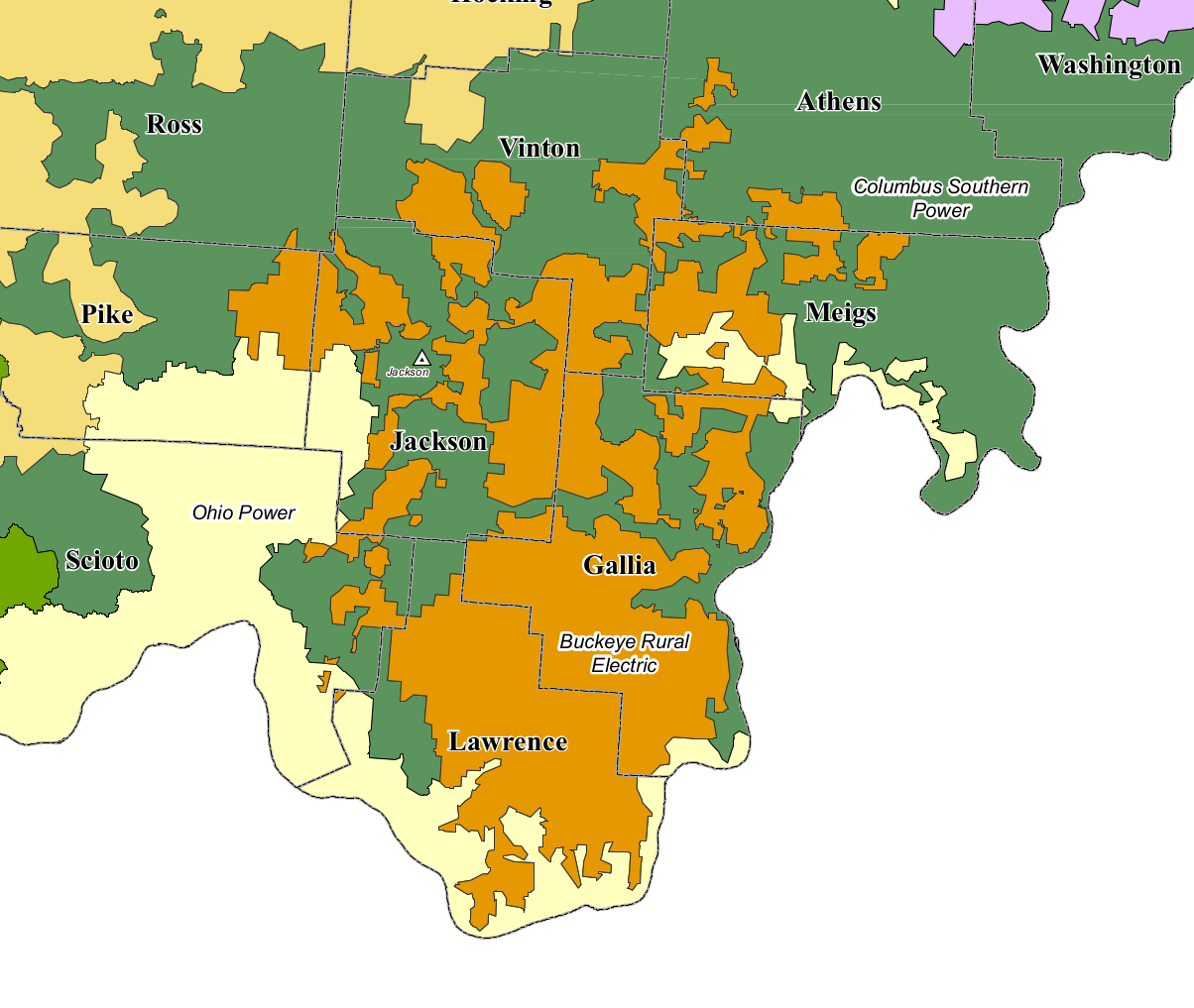 BREC Territory Map  Buckeye Rural Electric